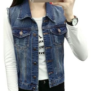 NWOT rustic denim sleeveless jacket